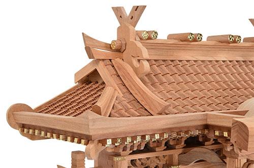 本欅 入母屋型 三社 高50㎝ 屋根2