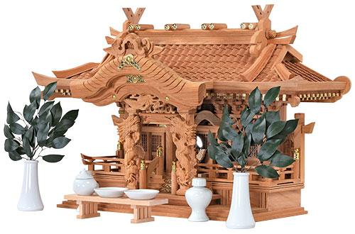 本欅 入母屋型 三社 神具付き 高50㎝斜め1