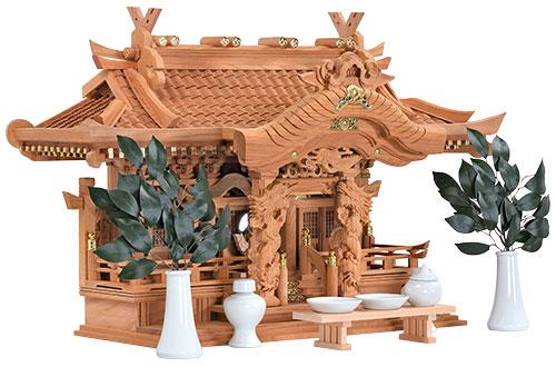 本欅 入母屋型 三社 神具付き 高50㎝斜め2