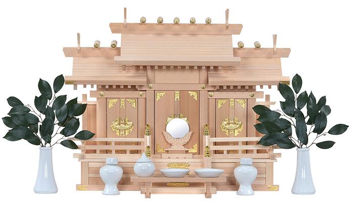 木曽桧三社(中)神具セット付斜め1